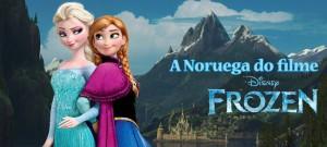O cenário do filme Frozen - uma aventura congelante, com casas típicas, castelos e montanhas inspirados nas paisagens e na cultura da Noruega.